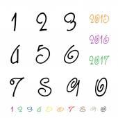 Numbers 0-9 written with a brush on a white background — Stock Vector