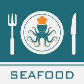 Squid, Fork, Knife, Dish icon, restaurant sign — Stock Vector