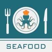 Lula, garfo, faca, ícone de prato, restaurante sinal — Vetor de Stock