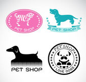 Set of vector an pet shop label on white background, dog shop — Stock Vector