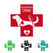 Vector image of veterinary symbol with dog cat and bird — ストックベクタ