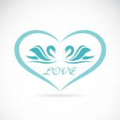 Vector image of two swans in a heart shape. — Stockvektor