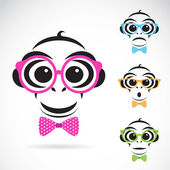 Vector image of a monkey wearing glasses on white background. — Stock Vector