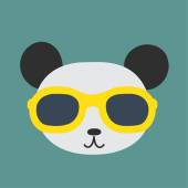 Vector image of a panda wearing glasses. — Stock Vector