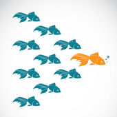 Vector image of an goldfish showing leader individuality success — Stock Vector