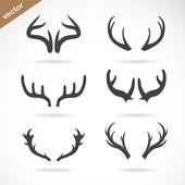 Vector antler icon set on white background — Stock Vector