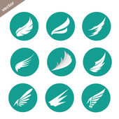 Vector group of wings in the circle on white background — Stock Vector