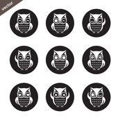 Vector group of owl in the circle on white background — Stock Vector