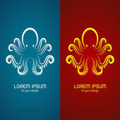 Vector image of an octopus design on blue background and red bac — Stock Vector