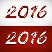 Calligraphy vector 2016 New Year sign on white background and re — Vector de stock