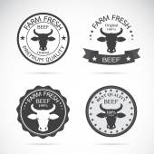 Set of vector an cow label on white background — Stock Vector
