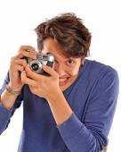 Young Photographer taking picture — Foto Stock