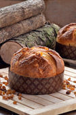 Panettone bread and ingredients — Stock Photo