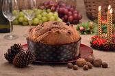 Panettone bread o table — Stock Photo