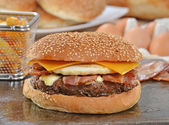 Cheese burger and ingredients. — Stock Photo