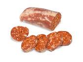 Sausage slised isolated — Zdjęcie stockowe