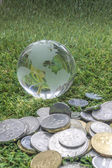 Globe and coins — Stock Photo