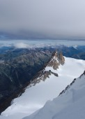 Aiguille du Midi with clouds in Chamonix — Stock Photo
