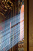 Sunbeams passing through window in Armenian church of Lviv with warm tones — Stock Photo
