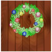 New Year's wreath from fir-tree branches — Stock Vector