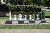 Big chess in a garden — Stock Photo