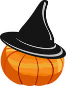 Pumkin in a black hat — Stock Vector
