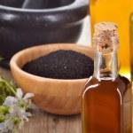 ������, ������: ��� Close-up of nigella sativa oil.