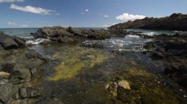 Volkanik kıyısında lanzarote, Kanarya Adaları. — Stok video