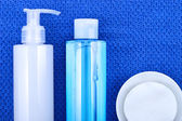 Face wash cleansing gel, toner and cotton cleansing pads. — Stock Photo
