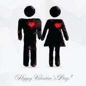Polygon couple in love - vector illustration — Stock Vector