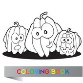 Illustration of pumpkins for coloring book — Stock Vector