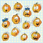 Halloween pompoenen - stickers — Stockvector