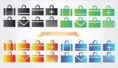 Case icons variants of briefcase  — Vecteur