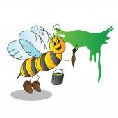 Funny cartoon bee with a brush and paints  — Wektor stockowy