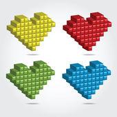 Pixel 3D vector illustration for Design — Stock Vector