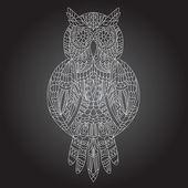 Beautiful ornamental owl graphic  — Stock Vector