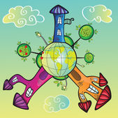 Mondo dei cartoni animati — Vettoriale Stock