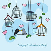 St. Valentine's day greeting card with birds — Stock Vector