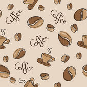 Seamless background with coffee beans and cups — Stock Vector