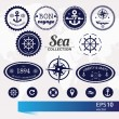 Set of vintage retro nautical badges, labels and icons — Stock Vector #58486041