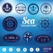 Set of vintage retro nautical badges, labels and icons — Stock Vector #58486113