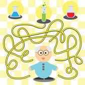 游戏为孩子-帮助科学家的 — 图库矢量图片