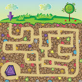 Maze for children - nature, stones and precious stones under the ground — Stockvektor