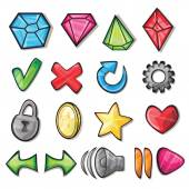 Cartoon icons for game user interface — Stockvector