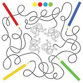 Maze game and coloring activity page for kids — Stockvector