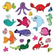 Marine life doodles - Hand drawn collection — Stock Vector #63139205