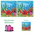 Visual Game find 10 differences with answer — Stock Vector #63798985
