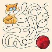 Kitten And Wool Ball — ストックベクタ