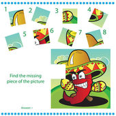 Find missing piece - Puzzle game for Children — Stock vektor