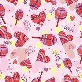 Seamless pattern of drawing doodle hearts — Stock Vector